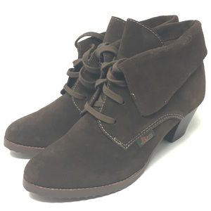 Bass Bricia Brown Suede Fold Over Booties Size 8